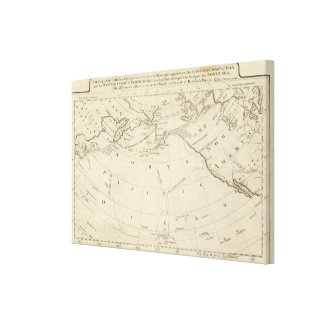 Map of the Discoveries made by Cook and Clerke Stretched Canvas Prints