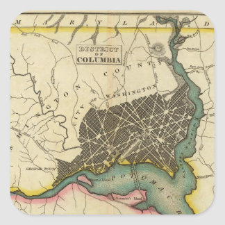 Map Of The District Of Columbia Square Sticker