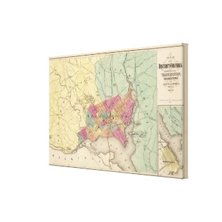 Map of the District of Columbia, Washington Stretched Canvas Print