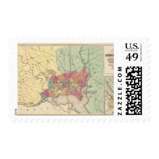 Map of the District of Columbia, Washington Postage Stamp