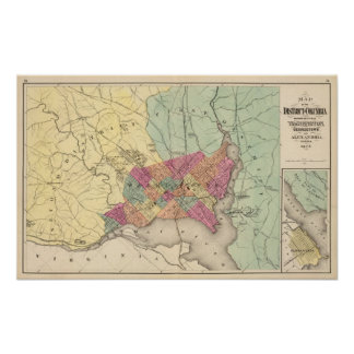 Map of the District of Columbia, Washington Poster