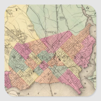 Map of the District of Columbia, Washington Square Sticker