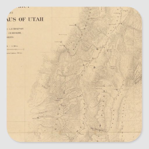 Map of the district of the High Plateaus of Utah Square Sticker