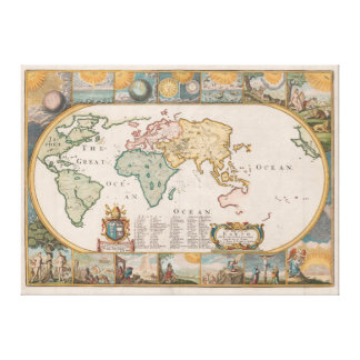 Map of the Earth by Joseph Moxon (1681) Canvas Print