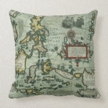 Map of the East Indies, pub. 1635 in Amsterdam (ha Throw Pillows