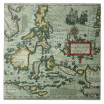 Map of the East Indies, pub. 1635 in Amsterdam (ha Ceramic Tiles