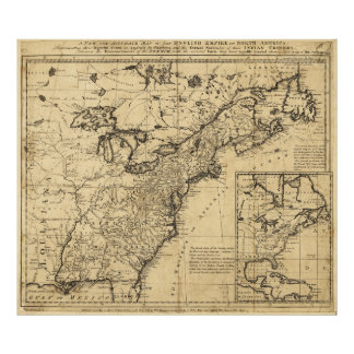Map of the English Empire in North America (1755) Poster