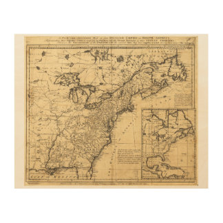 Map of the English Empire in North America (1755) Wood Print