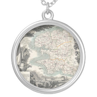 Map of the French Department of Finistere Round Pendant Necklace