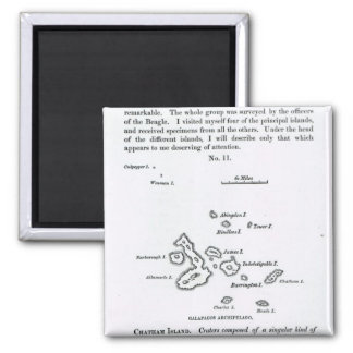 Map of the Galapagos Archipelago, 1844 2 Inch Square Magnet