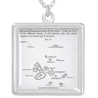 Map of the Galapagos Archipelago, 1844 Silver Plated Necklace