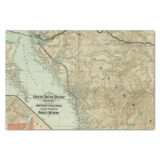 """Map Of The Grand Trunk Pacific Railway 10"""" X 15"""" Tissue Paper"""