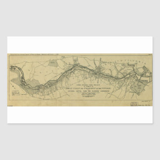 Map of the Great Falls Park (1928) Rectangular Sticker