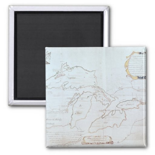Map of the Great Lakes 2 Inch Square Magnet
