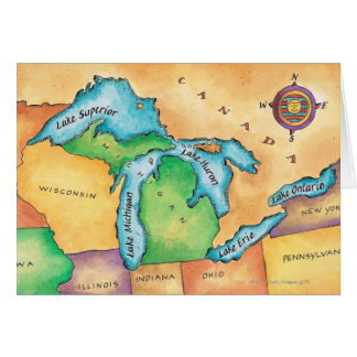 Map of the Great Lakes Card
