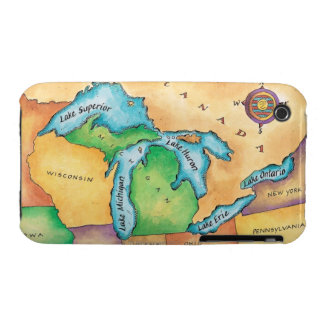 Map of the Great Lakes iPhone 3 Case