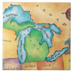 Map of the Great Lakes Ceramic Tile