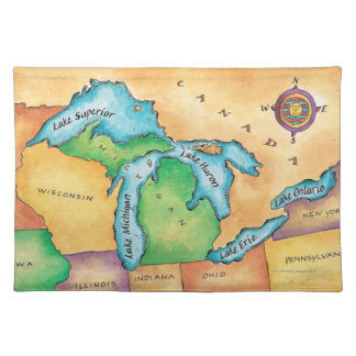 Map of the Great Lakes Cloth Placemat