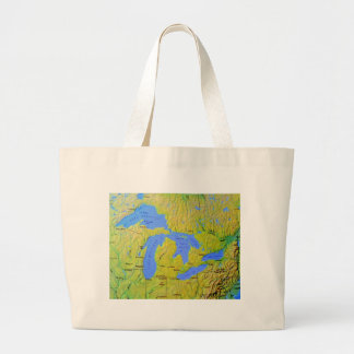 Map of The Great Lakes Design Canvas Bags