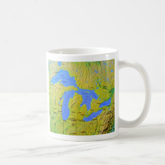 Map of The Great Lakes Design Classic White Coffee Mug