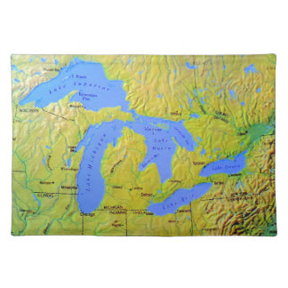 Map of The Great Lakes Design Cloth Placemat