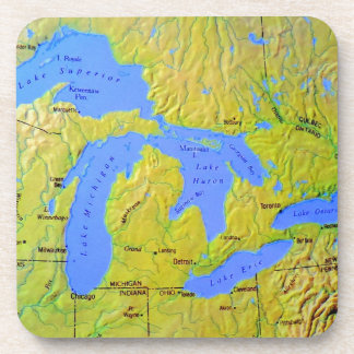 Map of The Great Lakes Design Drink Coaster