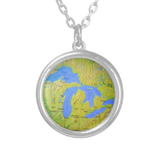 Map of The Great Lakes Design Custom Necklace