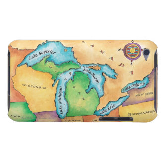 Map of the Great Lakes iPod Touch Case-Mate Case