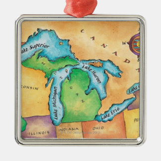 Map of the Great Lakes Metal Ornament