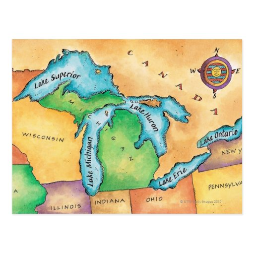 Map of the Great Lakes Postcards