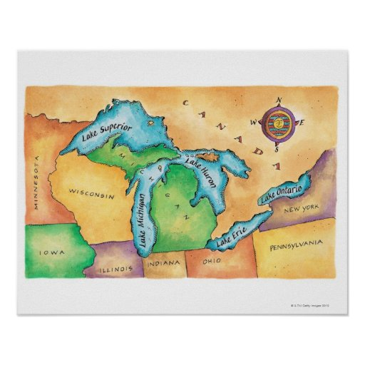 Map of the Great Lakes Poster | Zazzle
