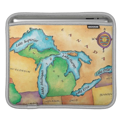 Map of the Great Lakes Sleeves For iPads