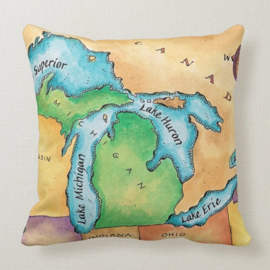 Map of the Great Lakes Throw Pillow