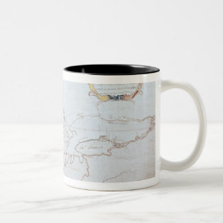 Map of the Great Lakes Two-Tone Coffee Mug