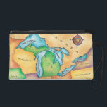 "Map of the Great Lakes Wristlet Purse<br><div class=""desc"">Map of the Great Lakes 