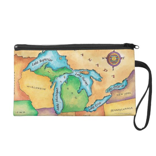 Map of the Great Lakes Wristlet Purse