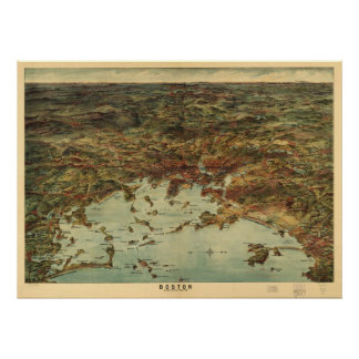 Map of the Greater Boston Area, 1905 Poster