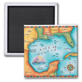 Map of the Gulf of Mexico 2 Inch Square Magnet