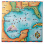 Map of the Gulf of Mexico Ceramic Tile