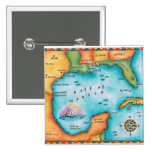 Map of the Gulf of Mexico Pinback Button