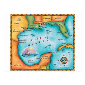 Map of the Gulf of Mexico Postcard