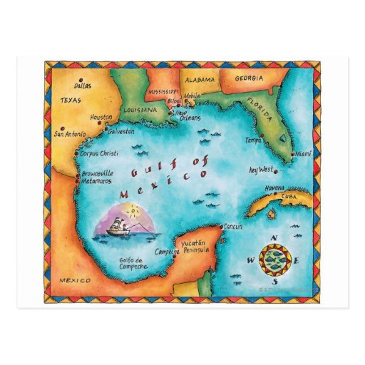 Map of the Gulf of Mexico Post Card