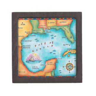 Map of the Gulf of Mexico Premium Gift Boxes