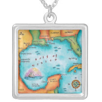 Map of the Gulf of Mexico Silver Plated Necklace