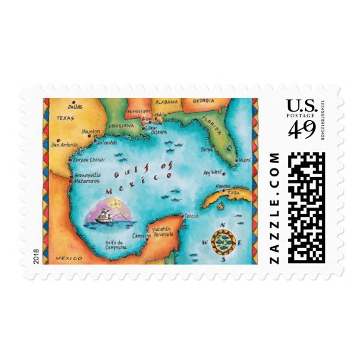 Map of the Gulf of Mexico Stamp