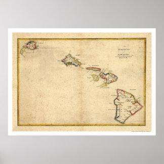 Map of the Hawaiian Islands by Kalama 1837 Poster