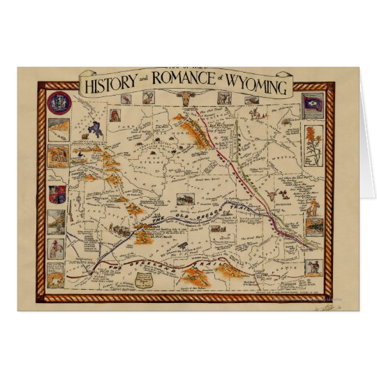 Map of the History and Romance of Wyoming Card