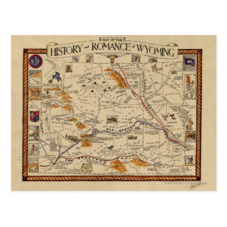 Map of the History and Romance of Wyoming Postcard
