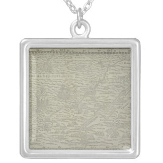 Map of the Holy Land Square Pendant Necklace