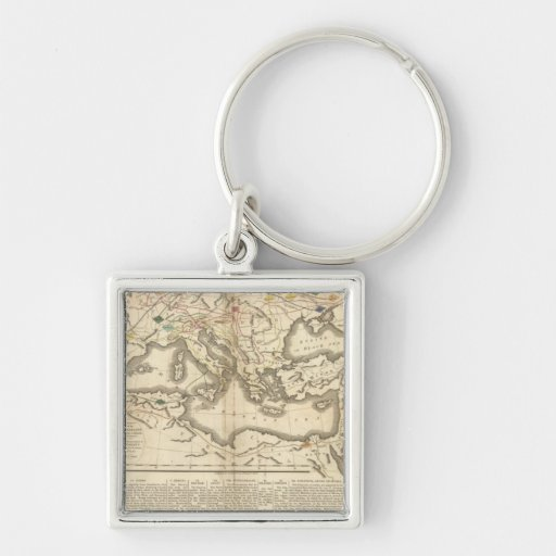 Map of the Incursions of the Barbarians Silver-Colored Square Keychain